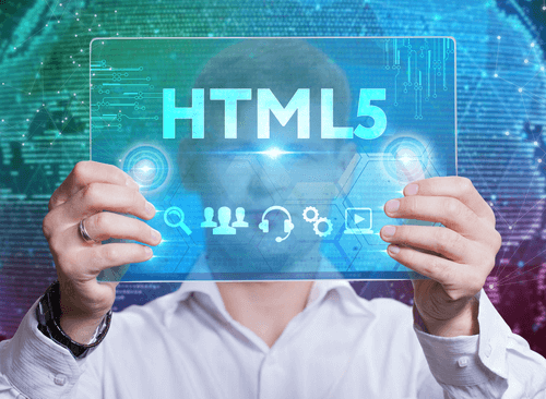 Person holding up a HTML5 sign.
