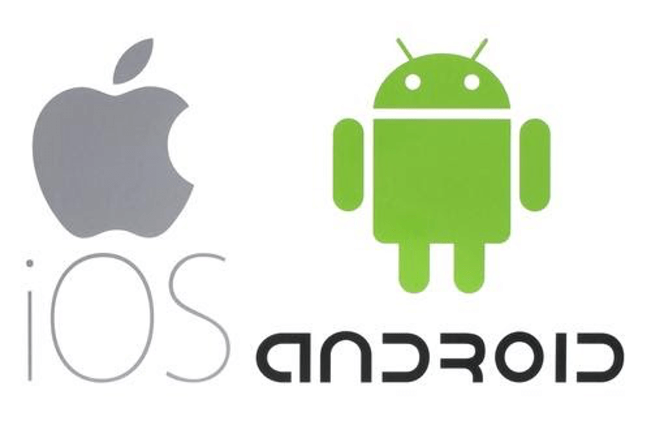 apple logo and android logo.