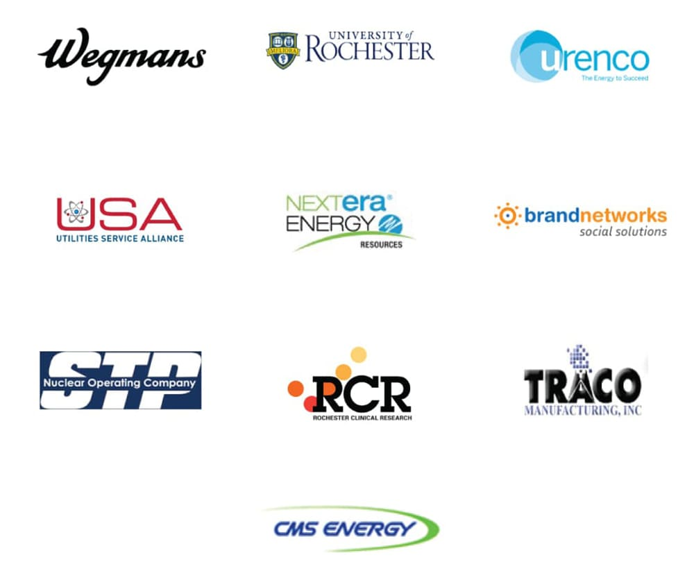 Wegmans, UofR, Urenco, Utilities Service Alliance, NextEra Energy, Brand Networks, STP, RCR, Traco, CMS Energy